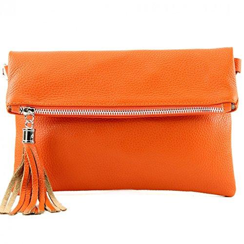 Damen Leder-clutch, Handtaschen (modamoda de - T167 - ital Clutch/Umhängetasche Leder Klein, Farbe:Orange)