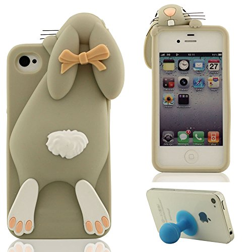 3D Joli Mode Lapin Apparence Doux Silicone Gel iPhone 4 Coque protection ( Rouge ), Apple iPhone 4S Étui, Dessin animé Animal Style Case Anti choc + Silicone Titulaire Gris