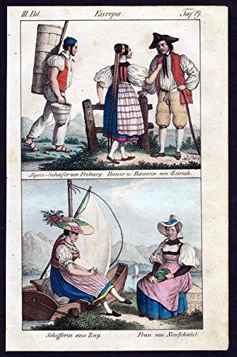 Schweiz Freiburg Zürich Zug Neuenburg Trachten Lithographie antique print