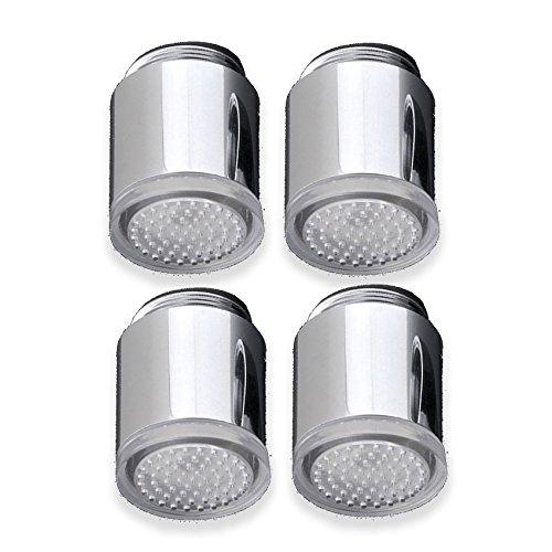 4er Set Perlator mit Farbwechel durch Wasserkraft - LED Wasserspender mit Beleuchtung (Licht Badezimmer Wasserhahn)