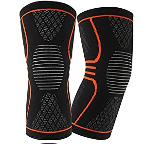 EveShine Knee Compression Sleeve Support (1 Pair), Best Compression Knitted Knee Support Brace with Gel Strips for Running, Sports, Jogging, Basketball, Injury Recovery for Men & Women