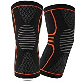 Knee Compression Sleeve (1 Pair), EveShine Best Compression Knitted Knee Support Brace