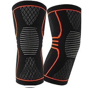 Ginocchiera a compressione per ginocchio (1 paio), EveShine miglior supporto a maglia per ginocchio con strisce di gel per la corsa, sport, jogging, basket - Meniscus Lacrima, artrite - Large