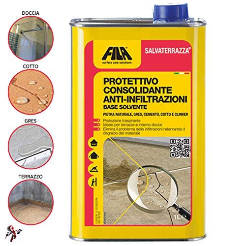 Fila Salvaterrazza 1 lt impermealizzante protettivo consolidante anti infiltrazione Protegge e ripara le terrazze in cotto, klinker, gres e cemento, pietre naturali dall'acqua e dall'umidità