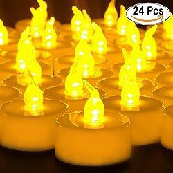 24 Pcs Pequeñas velas parpadeantes con batería