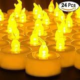 Cookey Flameless LED Tea Lights Velas, 24 Pcs Pequeñas velas parpadeantes brillantes con batería para fiestas, Festivales, Bodas, Halloween, Decoración de Navidad (Amarillo Ámbar)