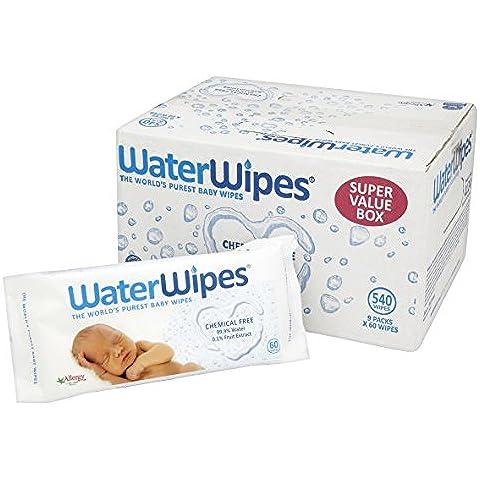 WaterWipes Toallitas Húmedas, Piel Sensible, Pack de 9 -  540 toallitas