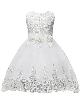 Happy Cherry - Falda Vestido de Ceremonia Bautizo para Bebés Niñas Vestido para Boda Fiesta de Encaje Floral sin...
