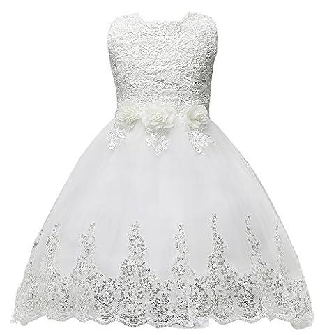Happy Cherry Mädchen Blumenmädchenkleid mit Blumen & Schleife, ohne Ärmel Hochzeitskleid Tüll Festkleid Abendkleid Partykleid, Vorne Kurz Hinten Lang Gr.140 (Für Körpergröße 120-130cm) -