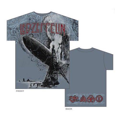 Flourished Crashing Zeppelin,T-Shirt,Gr.Xl,Blau (T-shirts Rock Zeppelin Led)