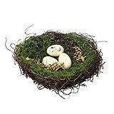 cheerfullus natürlicher Gewebter Aufhängen Vogel Nester Haus mit Einem Ei Zweig Vogel Nest Deko Grün Bird 's Nest Ornament Home Decor Style 2
