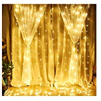 Window Curtain String Light 300 led Curtain Light Curtain Lights led Icicle Christmas String Fairy Wedding Lights for Wedding Party Home Garden Bedroom Outdoor Indoor Wall decorations(Warm White)