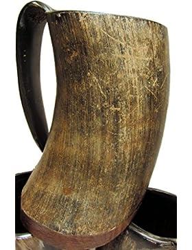 Vikingo Cuerno Taza metbecher Cuerno Taza Viking Mug Medieval Real Horn