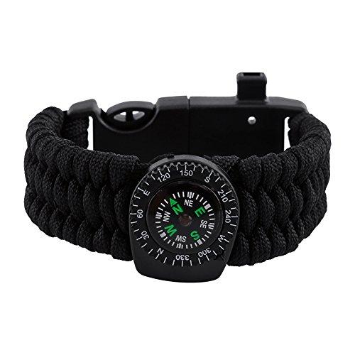 Bracelet de Survie Multifonction 6 en 1 Kit de Survie - Allume-feu + Grattoir + Boussole + Sifflet + Paracorde + Thermomètre pour Randonnée Camping Vayages Extérieurs