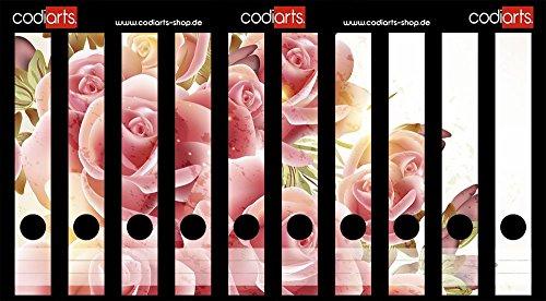 Set 10 Stück Ordner-Etiketten selbstklebend Ordnerrücken Sticker Rosa Rosen Gemälde
