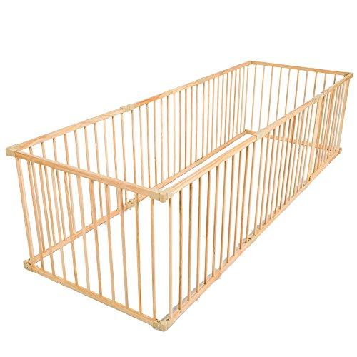 TecTake Welpenlaufstall Tierlaufstall Freigehege aus Holz für Hunde Laufstall 8 Teile -