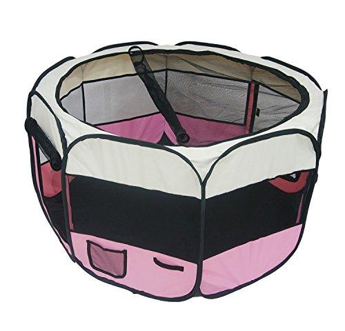 Todeco Laufstall für Haustiere, Park für Kleintiere - Material: PVC-Beschichtetes Polyester - Durchmesser: 125 cm - Rosa