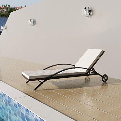 Fzyhfa sedia a sdraio con cuscino 2ruote in marrone resina intrecciata