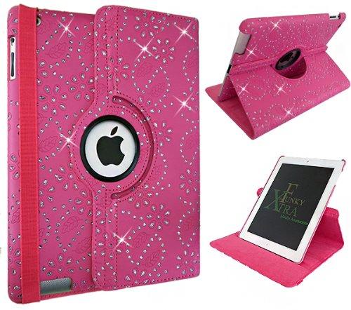 Xtra-Funky exklusive Hülle / Aufsteller aus PU-Leder für Apple iPad, um 360° schwenkbar, Schlafmodus mit automatischer An- / Aus-Funktion Crystal Pink iPad 2-3-4 (Schwenkbarer Ipad-halter)