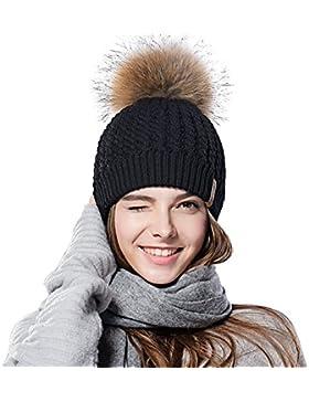 Sombreros de Pom de Pombl de las señoras del sombrero de la gorrita tejida del invierno de las mujeres para las...