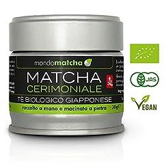 Idea Regalo - Tè Verde Matcha Bio Giapponese - Grado Cerimoniale dal 1° Raccolto di Primavera per Estimatori - dai Pregiati Giardini del Tè di Kagoshima, Raccolto a Mano, Macinato a Pietra - 30g Organic mondomatcha