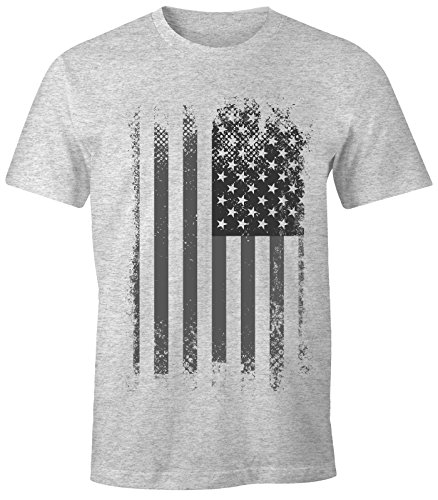 MoonWorks Herren T-Shirt - Amerika Flagge USA Flag United States of America - Comfort Fit grau-schwarz L