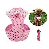 ZOCONE Hundegeschirr Hundegeschirr Kleine Hunde, Brustgeschirr Hund Hundegeschirr und Leinen Set Hundeweste für mittelgroße Hunde(S, Pink)