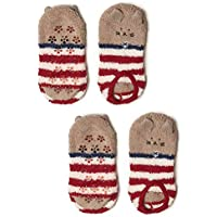 FENICAL Calcetines Animales de invierno Lindo Cozy Warm Fuzzy Slipper Calcetines Soft Coral Velvet Calcetines calientes