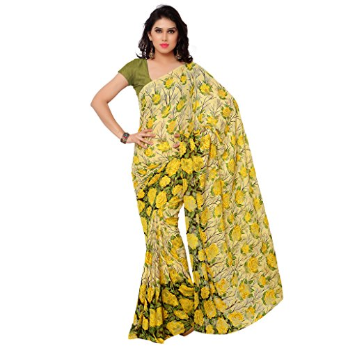 Gl Sarees Brasso Saree (Gl216_Beige And Yellow)