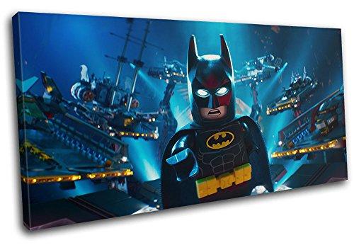 Bold Bloc Design - Lego Batman Movie DC Hero For Kids Room 80x40cm SINGLE Leinwand Kunstdruck Box gerahmte Bild Wand hangen - handgefertigt In Grossbritannien - gerahmt und bereit zum Aufhangen - Canvas Art Print - Art Print Canvas