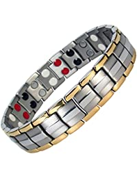 MPS® EUROPE Bio 4 Elements Gold-Silver Titanium Magnetic Bracelet with Fold-Over Clasp for Men + Free Links Removal Tool