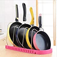 New design pot rack designed with five compartments is perfect for storing pots, pans, bake ware and cutting board of different sizes saving you a lot of kitchen cabinet space. This pot rack organizer can be tapped or erected in cabinets and other pl...