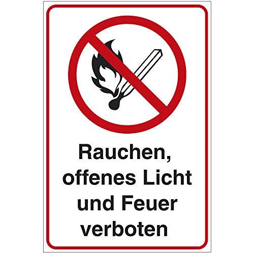 """Schild \""""Rauchen, offenes Licht und Feuer verboten.\"""" \"""" aus Alu / Dibond 140x200 mm - 3 mm stark"""