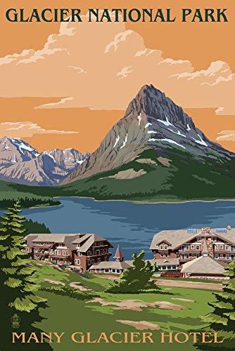 Hotel Vintage Park (viele Gletscher Hotel-Glacier National Park, Montana, Papier, multi, 9 x 12 Art Print)