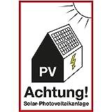 Wandkings Hinweisaufkleber für den Innen- und Außenbereich - Achtung! Solar-Photovoltaikanlage - 20x15 cm - Aufkleber ohne Schild