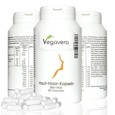 Haut-Haar-Komplex 400 mg | 90 Kapseln | Kombipräparat mit Pflanzenextrakten & Vitaminen | Haut / (Perdita Di Capelli Mesi)