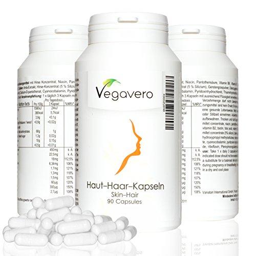 Vegavero Haut Haar Kapseln | Vitamine | Vegan ▪ Haut ▪ Haar ▪ Immunsystem | 90 Kapseln
