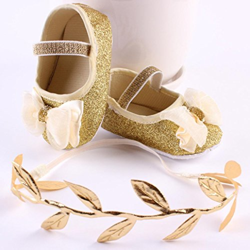 Reasoncool Pattini della ragazza del fiore del bambino Sneaker antiscivolo mano morbida bambino calza + 1pc Hairband Oro