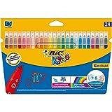 BIC Kids Fasermaler Kid Couleur - auswaschbare Filzstifte – 1 x 24 Kinder Filzstifte in lebendigen Farben – Ab 5 Jahren – Im Kartonetui