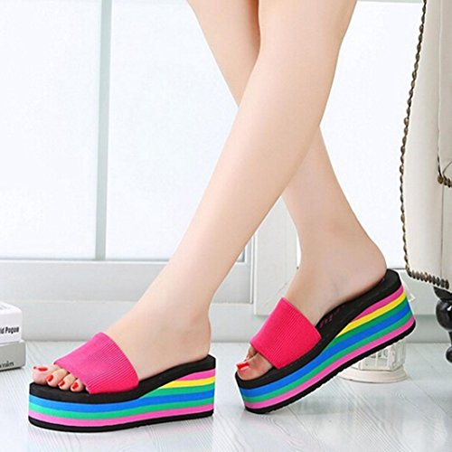 Saingace® Damen Sommer Schuhe Sandalen,Frauen Regenbogen Sommer Non-Slip Sandalen weiblich Strand Pantoffeln(36-40EU) Hot Pink