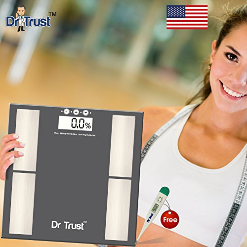Dr. Trust (USA) Smart BODY COMPOSITION MONITOR, FAT ANALYZER and WEIGHING SCALE (Dr Trust Digital Thermometer free)