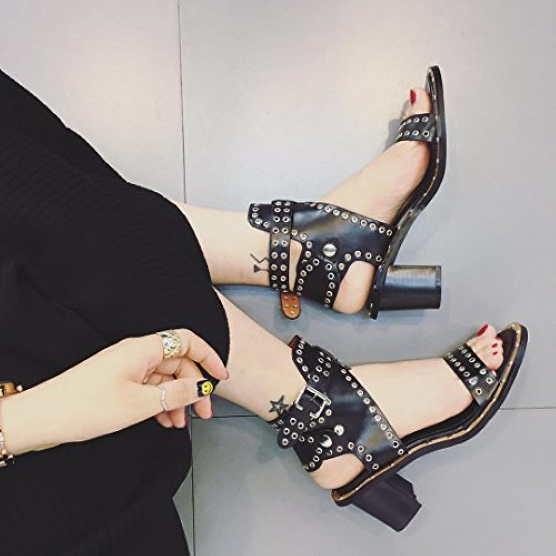 ZHZNVX Sandalen Die high-heel Schuhe elegant und vielseitig Niet Sandalen ZHZNVX dick mit Damen Schuhe 2d37b9