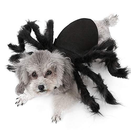 Großer Spinne Kostüm Hunde - lifesongs Haustier Spinne Kleidung Hund Katze Halloween Simulation Plüsch Spinnen Dress Up Party Performance Kleidung