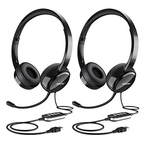 Mpow PC-Headset, Multi-Use USB Headset & 3,5 mm Skype Headset Chat Headset VoIP Gaming Headset Inline Control für Mac PC Moblie Phone (integrierte Geräuschunterdrückung Soundkarte) [2 Packungen]