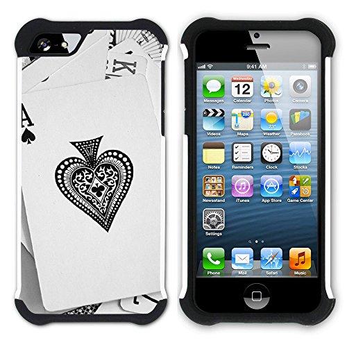 Graphic4You Poker Spielkarten Jetons Hart + Weiche Kratzfeste Hülle Case Schale Tasche Schutzhülle für Apple iPhone SE / 5 / 5S Design #7