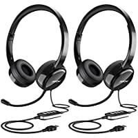 Mpow PC Headset, Multi-Use USB Headset & 3.5mm Skype Headset Chat Headset Office headset VOIP Gaming Headset In-line Control for Mac PC Moblie Phone (Built-in Noise Reduction Sound Card) [2 Packs]