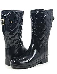 Hunter Woman Original Refined Gloss Quilt Short Black WFS1029RGL BLK, botas de agua color negro