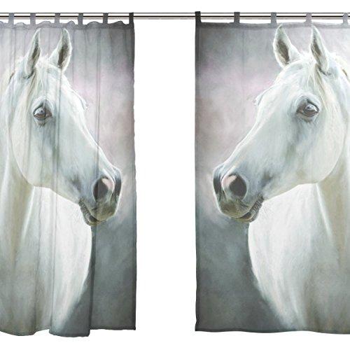 jstel 2Pcs Voile Fenster Vorhang, Kunst weiß Pferd, Tüll Sheer Vorhang Tuch Querbehang 139,7x 198,1cm Zwei scheibenelementen Set (Joch Klassische)