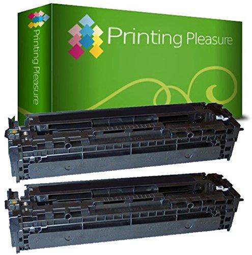 Printing Pleasure 2 Toner kompatibel für HP Laserjet Pro 200 Color M251n M251nw MFP M276n M276nw CM1312 CM1312nfi CP1215 CP1515 CP1515n CM1415fn CM1415fnw CP1525n CP1525nw - Schwarz, hohe Kapazität -