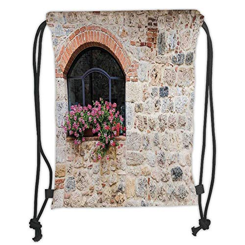 GONIESA Drawstring Sack Backpacks Bags,Tuscan,Gothic Architecture Abandoned Old Stone House Vintage Stairs in Tuscany,Ivory Pink and Salmon Soft Satin,5 Liter Capacity,Adjustable String Closure -
